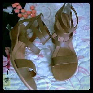 New! Andrea Tan Leather Corset Sandals / Wedges 8
